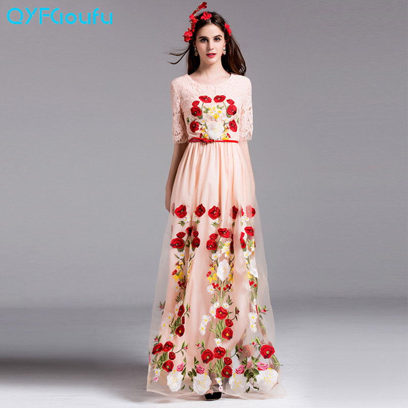 QYFCIOUFU New High Quality Women Maxi Dress Autumn Short Sleeve Designer Black And Pink Tulle Rose Floral Embroidery Dress