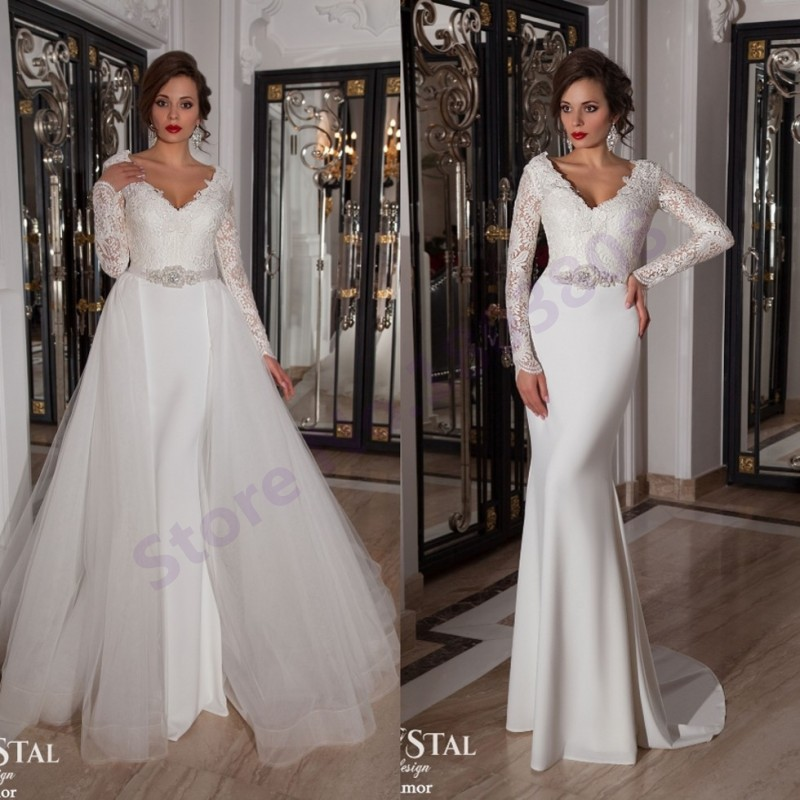 fa9b46ede98d Vintage Lace Long Sleeves White Chiffon Mermaid Wedding Dresses Detachable  skirt 2015 Elegant Bridal Dress Vestido De Noiva-in Wedding Dresses from  Weddings ...