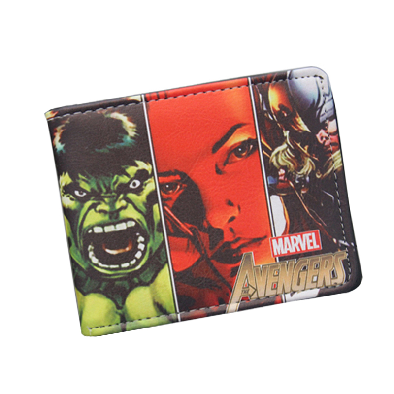 Hot Super Heroes Wallet Avengers Captain America Hulk Iron Mens Wallet Short Leather Comics Purses bolsas feminina billeteras