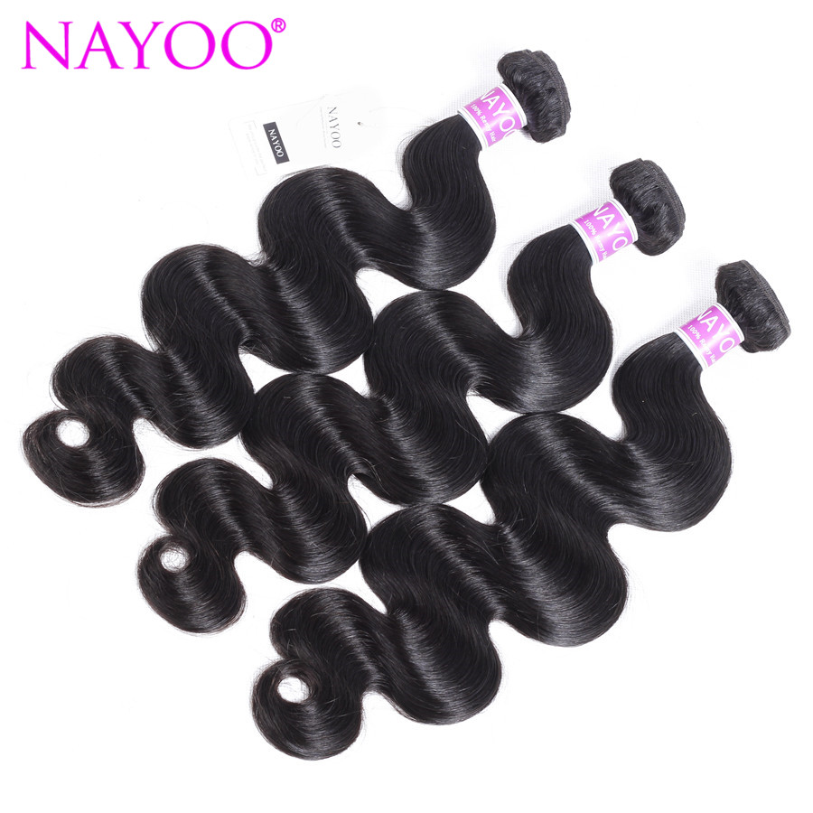 NAYOO Human Hair Bundles 3 Pieces Mongolian Body Wave Natural Color Remy Hair Weave Bundles 8-26 Hair Extensions