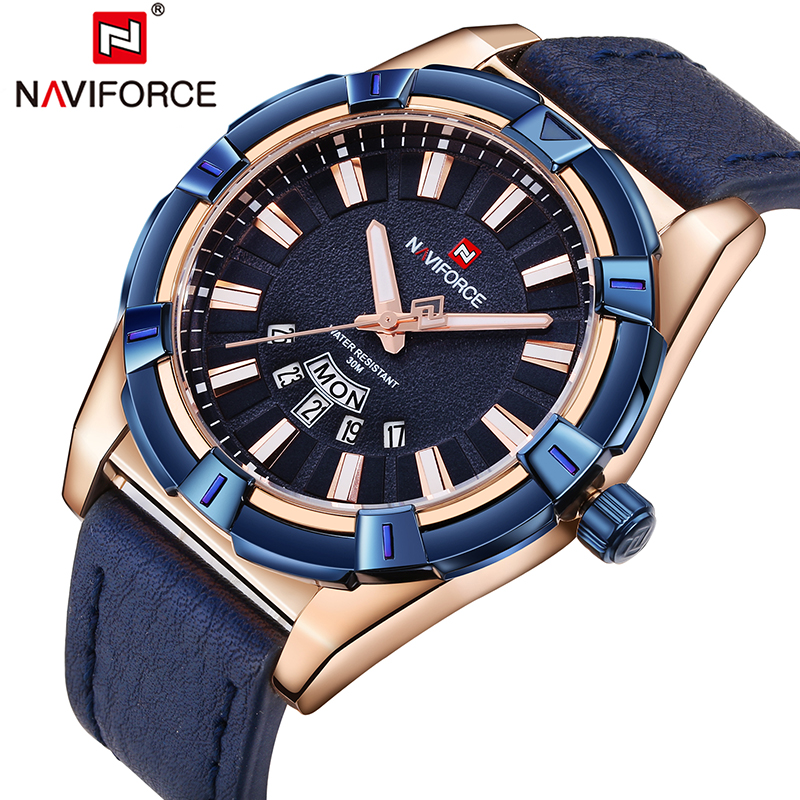 NAVIFORCE Watches Men Luxury Brand Analog Quartz Watch Man Waterproof Sports Wristwatches Leather Wristwatches Relogio Masculino new listing bellmers brand high grade watches leather strap men waterproof quartz watch relogio masculino sports wristwatches