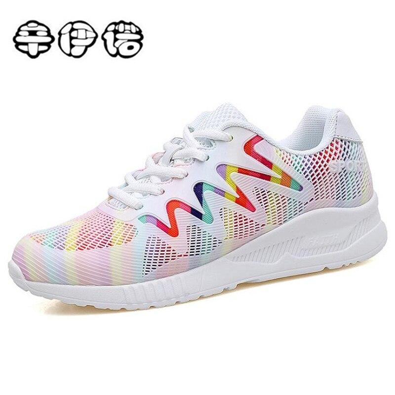 Mode blanc chaussures femme 2018 nouveau Respirant panier femme femmes sneakers casual chaussures pour femme tenis feminino livraison gratuite