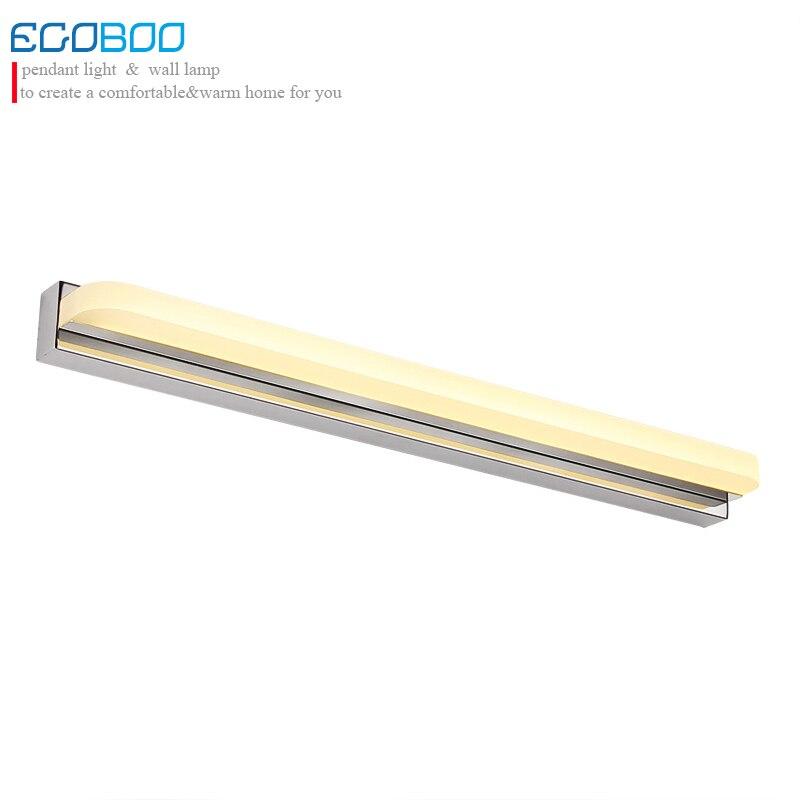 EGOBOO Style moderne 42 CM 52 CM LED luminaires de salle de bain en acrylique appliques murales en acier inoxydable avec interrupteur en option