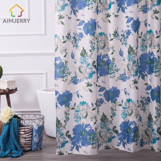 Aimjerry  Flowers Waterproof  and Mildewproof Fabric Bathroom  Shower Curtain Liner 71*71 With 12pcs Hooks Rideau De Douche