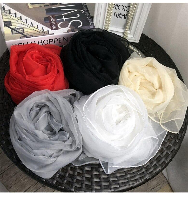Silk Scarf Women Scarves Shawls Wraps Pashmina Muslim Chiffon Hijab Foulard Femme Beach Stoles Bandana