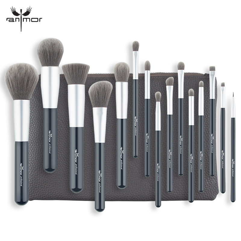 Anmor 15 PCS Professional Makeup Brushes Set Grey Brown Foundation Powder Eyeshadow Make Up Brushes Soft Synthetic Hair anmor make up brushes professional powder duo fibre eyeshadow makeup tool synthetic makeup brushes set with black bag
