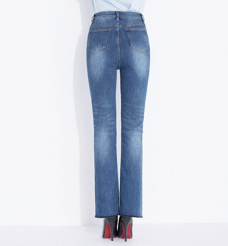 KSTUN FERZIGE Women's Jeans Winter Flared Pants Warm Fleece Heat Insulated Denim Stretch High Waist Business Casual Trousers Femme Big 19
