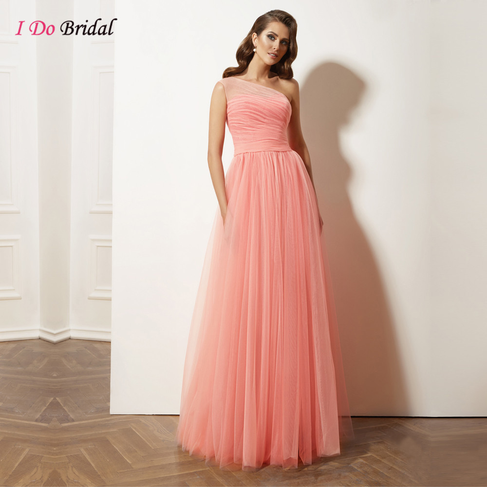 Online get cheap one shoulder pink bridesmaid dresses aliexpress coral bridesmaid dresses long one shoulder romantic pink floor length tulle country western wedding guest dress ombrellifo Images