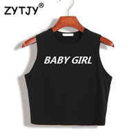 Women Crop Top Baby Girl babygirl Letters Print Sexy Slim Shirt For Tank Top Tee Hipster Vest Black White Drop Ship TZ20-821