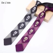 Brand New Jacquard Silk Necktie Japanese Cartoon Cosplay Costume Kira Yoshikage Demon Skull Skeleton Narrow Tie Men Gift