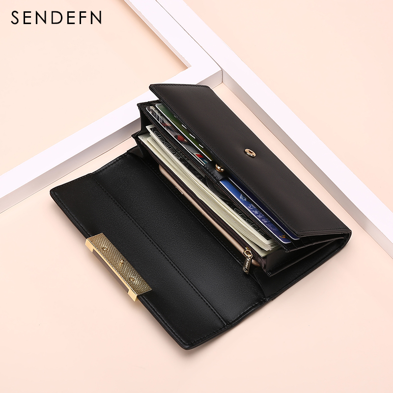 Hot Sale Fashion Split Leather Long Fashion Wallet Women Wallets Designer Brand Clutch Purse Lady Wallet Female Card Holder bobo bird watches display box organizer storage box leatherette wrist watch holder jewelry display case