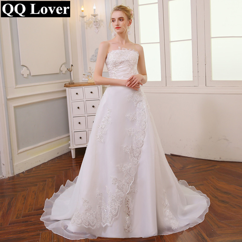 QQ Lover 2019 Cheap Vintage Long Train Wedding Dress Robe De Mariee Sirene Plus Size Bridal Dress Free Shipping Vestido De Noiva