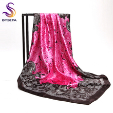 [BYSIFA] Muslim Women Head Neck Scarf Shawl 2017 Trendy Chinese Silk Square Satin Scarf 90*90cm Pink Coffee Roses Scarves Wraps