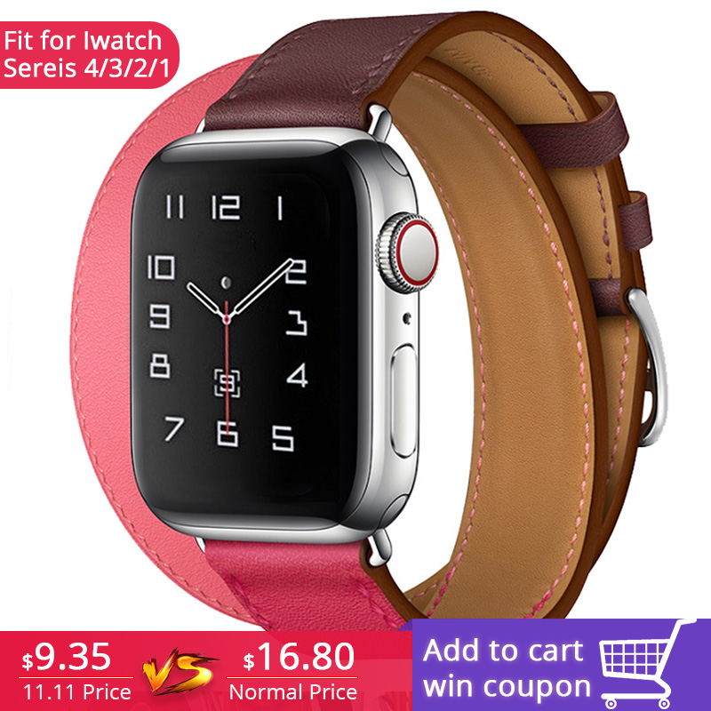 Extra Long Genuine Leather Band Double Tour Bracelet Leather Strap Watchband for Apple Watch Series4 3 2 1 38mm sport 42mm womanExtra Long Genuine Leather Band Double Tour Bracelet Leather Strap Watchband for Apple Watch Series4 3 2 1 38mm sport 42mm woman