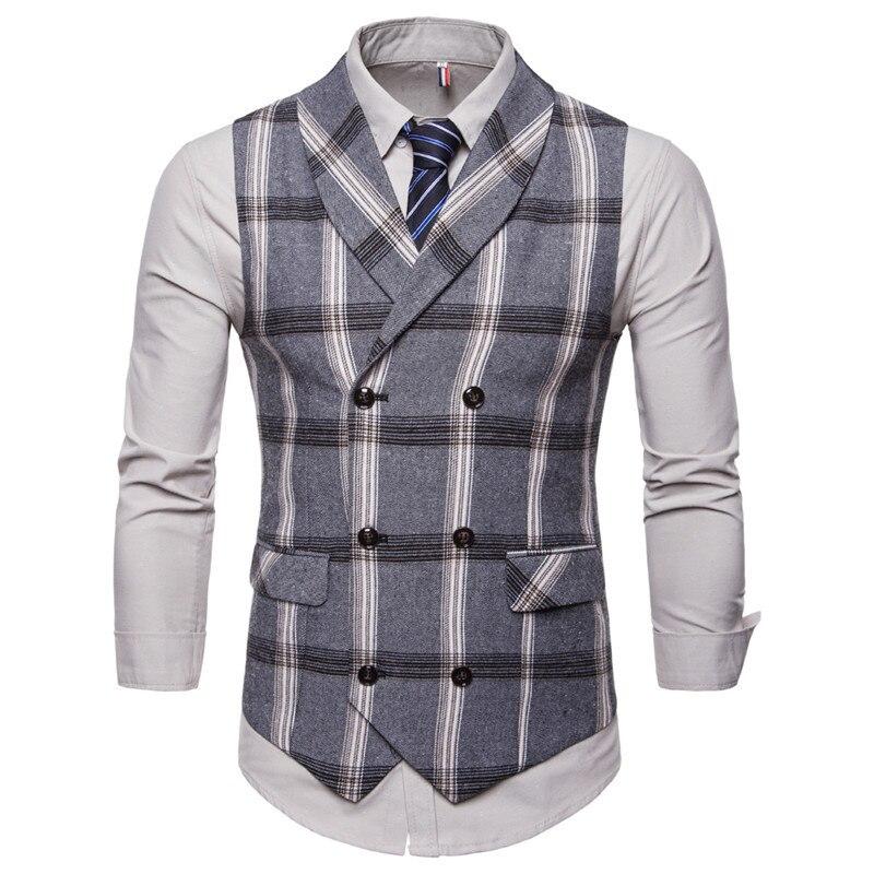 Riinr, новинка, приталенный мужской жилет, повседневный костюм, жилет для мужчин, Клетчатый Стиль, для мужчин, Chalecos Hombre, деловая одежда, жилет без рукавов, жилет - Цвет: Gray