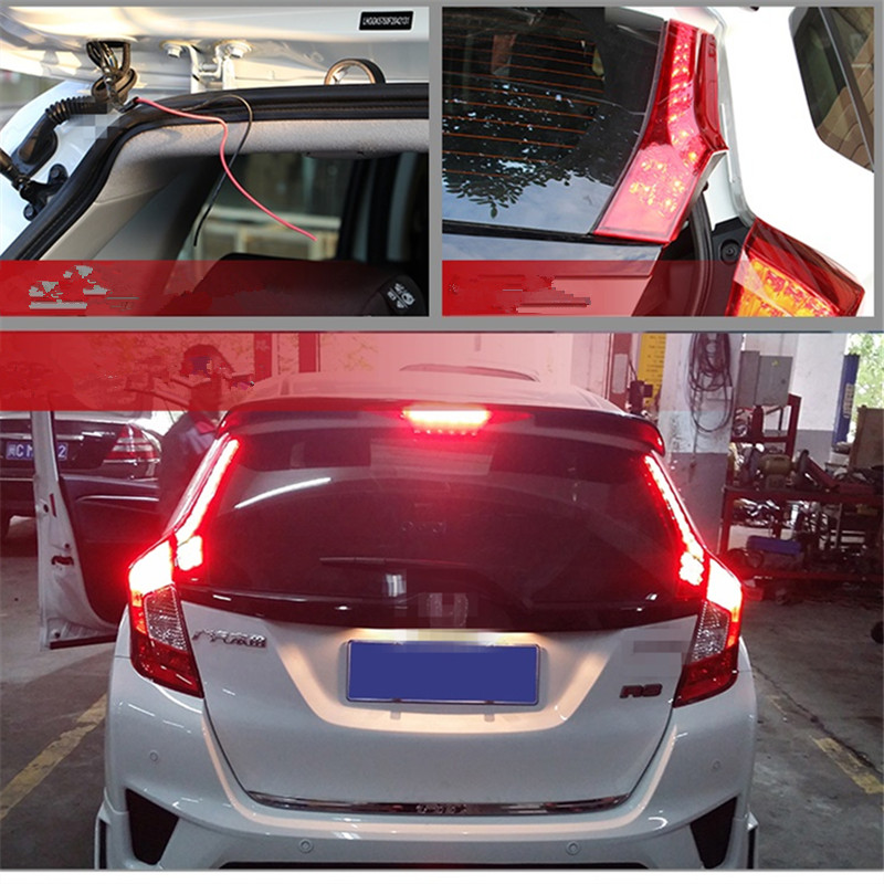 SNCN LED Rear door light for Honda Jazz 2014 2015 2016 Fit Rear Reflect light Running lamp led brake light warming lights car rear trunk security shield cargo cover for honda fit jazz 2014 2015 2016 2017 high qualit black beige auto accessories