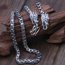 7MM Handmade Thai 925 Sterling Silver Dragon Necklace Man Necklace Vintage Pure Silver Dragon Necklace