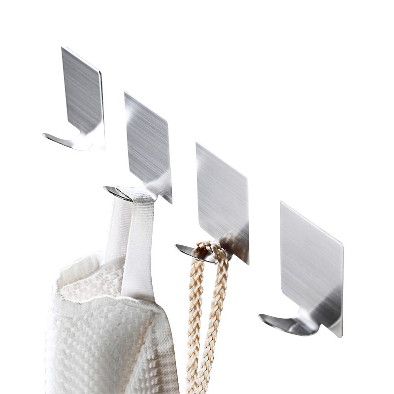 4 pcs/set Bathroom Hooks for Clothes Towel Scarf Wall Hook Stainless Steel Kitchen Sundries Holder Key Bag Hanger Lot