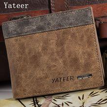 Yateer Fashion leisure Hit color Casual Men Exposure Geometric patterns Wallet Famous Male Purse Money Bag Credit Card Letter