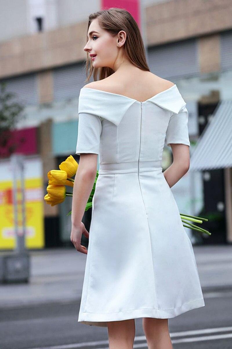 Moulante Off Noir Slash Bureau blanc Tunique Vestidos Femmes Plus 2017 Dress Taille Épaule Le Robes Sexy Nouveau Partie Summer Piste Cou Slim wqaRFn0O