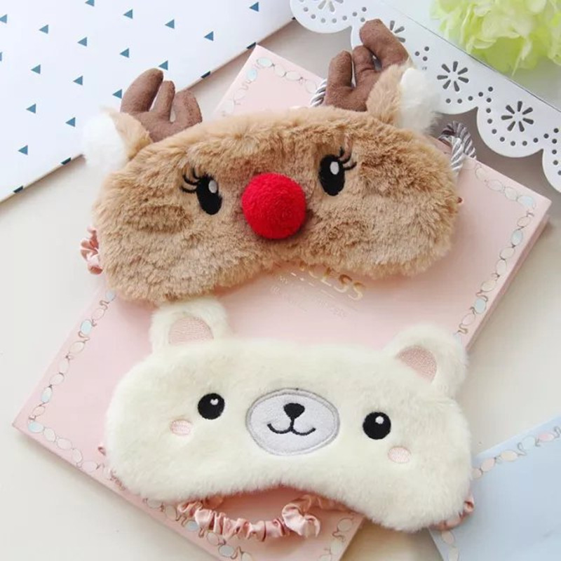 Plush Animal Eye Cover Sleeping Mask Eyepatch Bandage Blindfold Christmas Deer Winter Cartoon Nap Eye Shade Plush Sleeping MaskPlush Animal Eye Cover Sleeping Mask Eyepatch Bandage Blindfold Christmas Deer Winter Cartoon Nap Eye Shade Plush Sleeping Mask