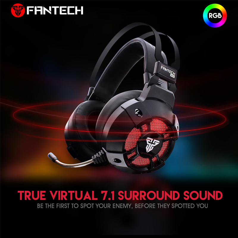 Image 2 - Fantech HG11 Professional Gaming Headphones Virtual 7.1 Channel  Surround Bass Stereo Gaming Headset Microphone RGB USB  EarphoneHeadphone/Headset