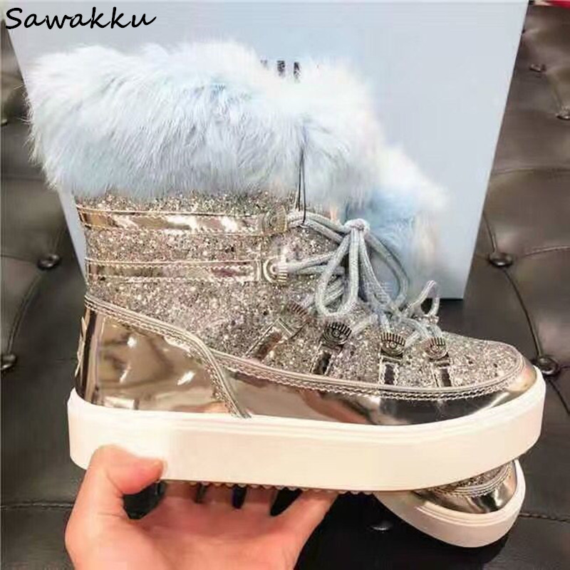 Detail Feedback Questions about 2019 New Designer Women Flats Winter Shoes  Bling Glitters Warm Fur Snow Boots Lace Up Leather Moon Platform Botas  Mujer ... 9840662ab2c6