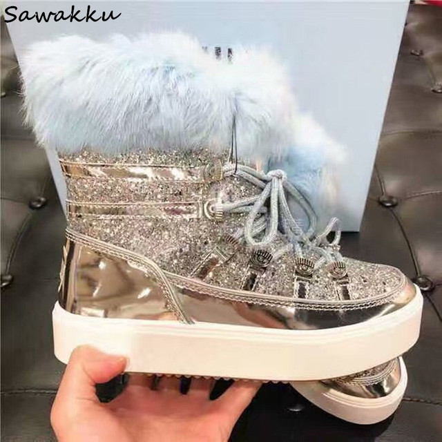 7e4dc5087dfe2 2019 New Designer Women Flats Winter Shoes Bling Glitters Warm Fur Snow Boots  Lace Up Leather Moon Platform Botas Mujer Silver