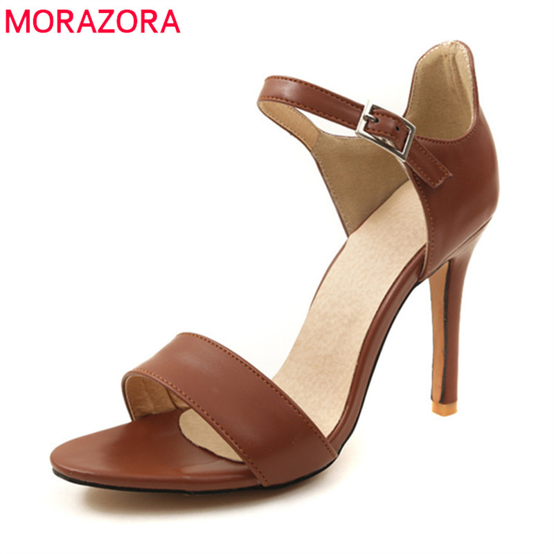 MORAZORA new women sandals spring summer classic simple buckle sexy thin heels party shoes peep toe size 33-40 shoes woman hot selling sexy sloid thin heels sandals woman new desig lace red white black sandals peep toe elegant for women free sipping