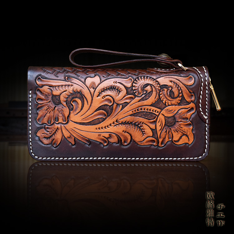 OLG.YAT handmade women wallets arabesque handbag Italian Vegetable tanned leather wallet long zipper bags womens cowhide retro arabesque arabesque vi caballero deluxe edition