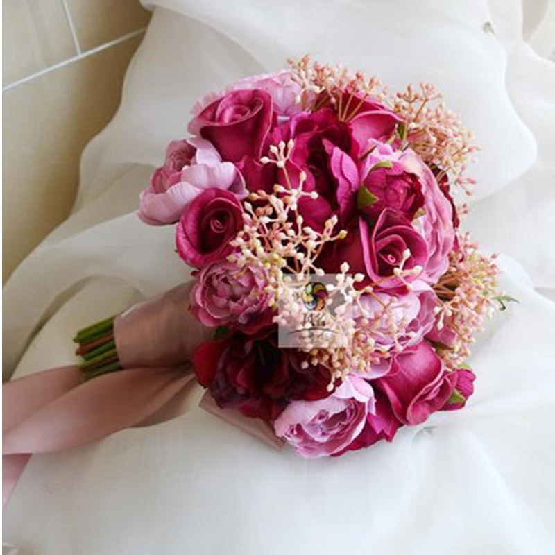 2019 Corpetto Da Sposa Stunning Fiori Bianco Damigella D'onore Bouquet Da Sposa Artificiale Rosa Bouquet Da Sposa Ultimo Stile