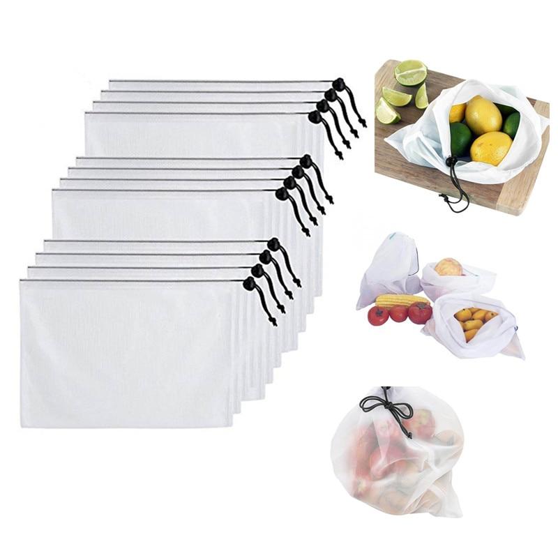 Home, Furniture & DIY Home Storage Solutions 12Pcs Reusable Kitchen Drawstring Bags Mesh Vegetable Fruit Storage Bags White