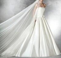 Vestidos de noiva слоновой кости пятно платья для свадьбы 2018 Лук Sash длинным шлейфом без бретелек спинки свадебное платье Платья для вечеринок