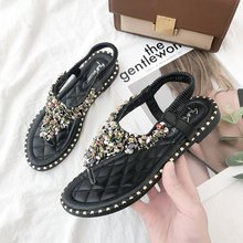 QIUBOSS Women Sandals Summer Fashion bling Rhinestone  flat shoes green color elastic band lady beach Gladiator