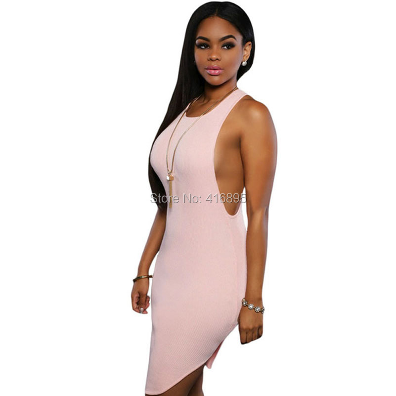 Fashion Bodycon Club Dress Robe Sexy Clubwear Party Backless Mini Pencil Knitted Tank Dresses tunique femme 4185216 criss cross slim knitted dress sexy female v neck long sleeve mini dresses charming spring club party bodycon robe dress sws023