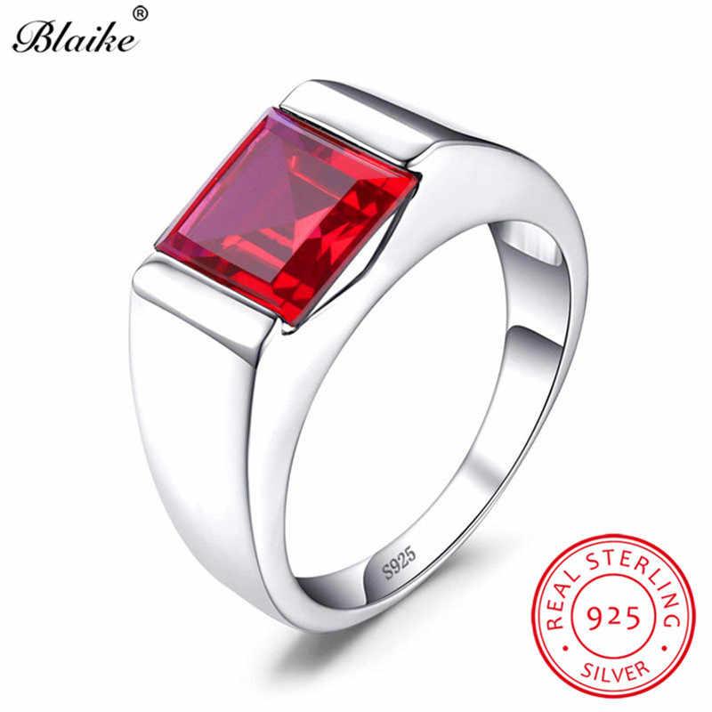 Boho Real S925 Sterling Silver Wedding Rings For Men Women Red