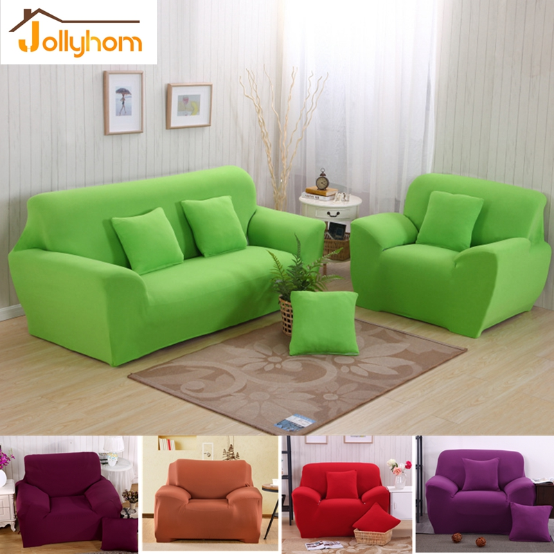 New Pure Color Single/Loveseat Sofa Cover L-shaped Couch Covers Full Body Slipcover Elasticity Flexible Chaise Cover 13 Colors