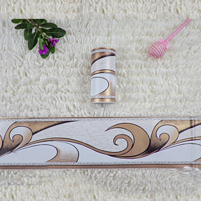 1 Roll 0.1x10m Retro Flower Stickers Waist Line Wall Sticker Wallpaper Kitchen Bathroom Toilet Border Waterproof Baseboard Decor