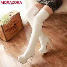 MORAZORA حجم 33 46 جديد 2020 ضئيلة فوق الركبة أحذية النساء سوبر عالية الكعب أحذية منصة الخريف مثير الفخذ أحذية عالية الإناث