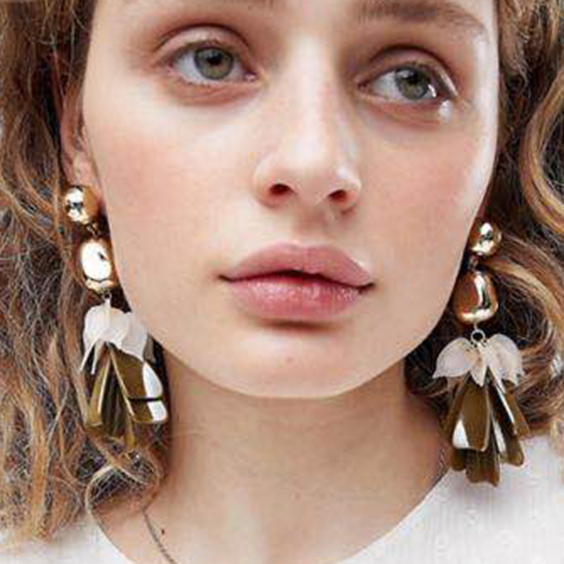 Dvacaman Pinky Color Flower Drop Dangle Earring For Women Bijoux Boho Statement Earrings Maxi Bohemian Fashion Jewelry Wholesale
