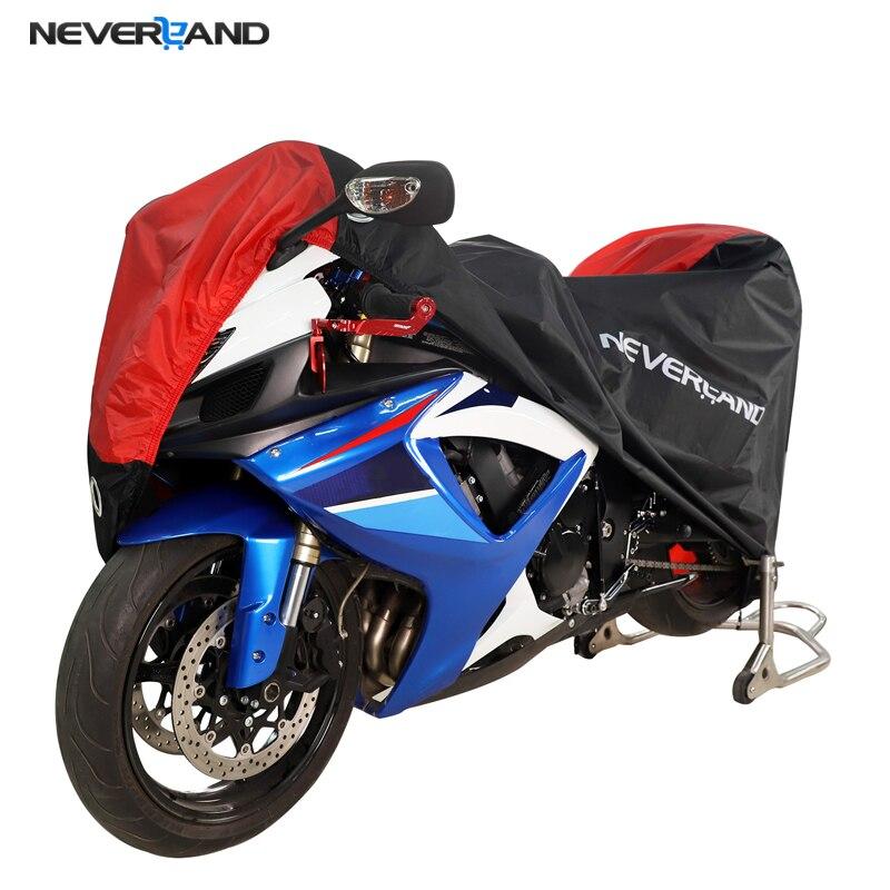 NEVERLAND cubierta de la motocicleta toda la temporada impermeable a prueba de polvo protección UV al aire libre cerradura interior agujeros de diseño moto lluvia cubierta