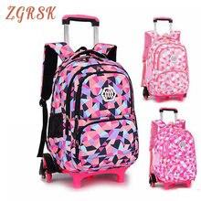 Kids Waterproof Backpacks Bagpack 2/6 Wheels Children Nylon Back Pack  School Bag Backpack Wheeled For Grils Boys