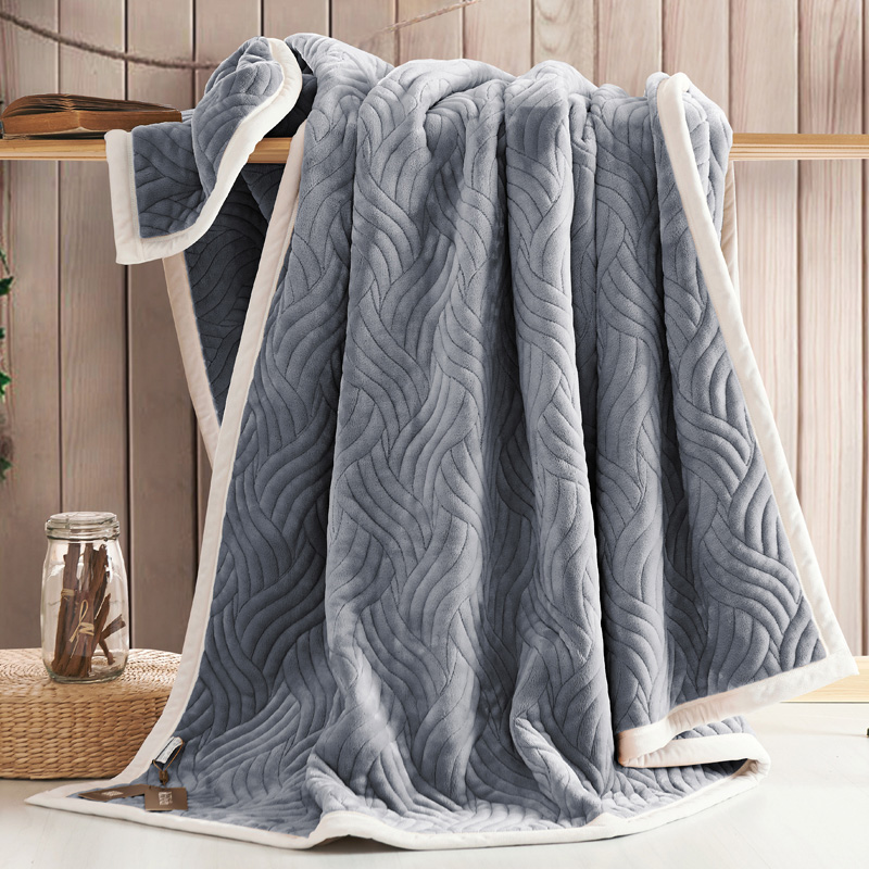 Blanket Winter Thickening Thermal Bed Sheets Solid Color