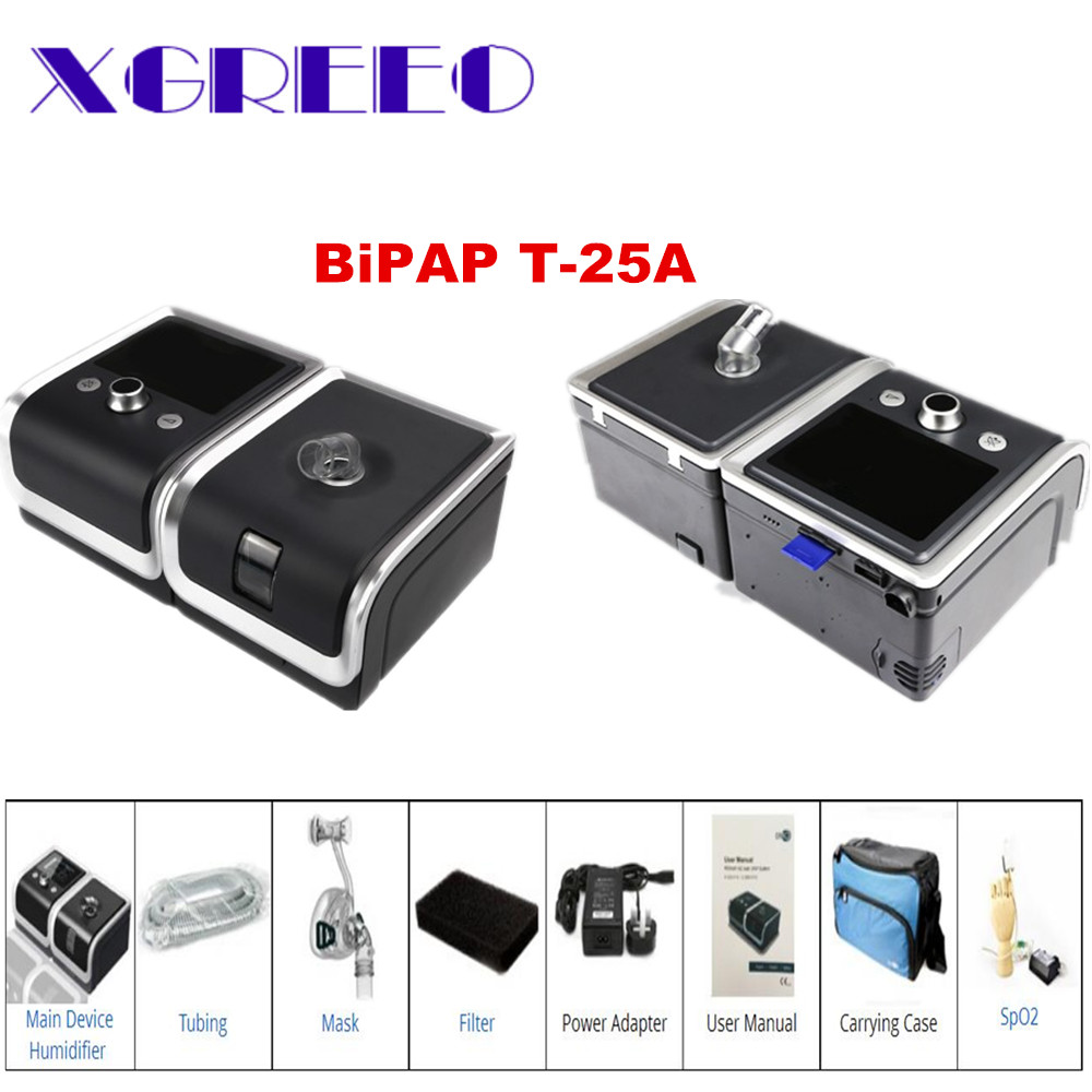 BMC XGREEO BiPAP GII Bi-Llevel CPAP T-25A Protable Medical BPAP Device With Humidifier Sleep Mask SPO2 kit Sleep Apnea Therapy new phoenix 11207 b777 300er pk gii 1 400 skyteam aviation indonesia commercial jetliners plane model hobby