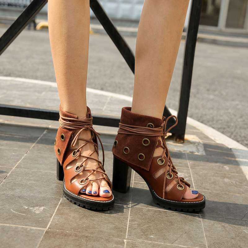 978ca7706c3 ... High Lace Women Women Mujer Stiletto Out Heels Gladiator Hollow  Perfetto Chunky Platform Sandals Up Prova ...