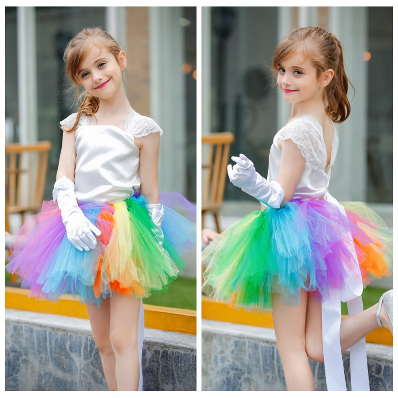 Flower Girls Tutu Dress with Satin Top Lace Strap Rainbow Colorful Kids Girls Prom Ball Gown Wedding Party DressesFlower Girls Tutu Dress with Satin Top Lace Strap Rainbow Colorful Kids Girls Prom Ball Gown Wedding Party Dresses