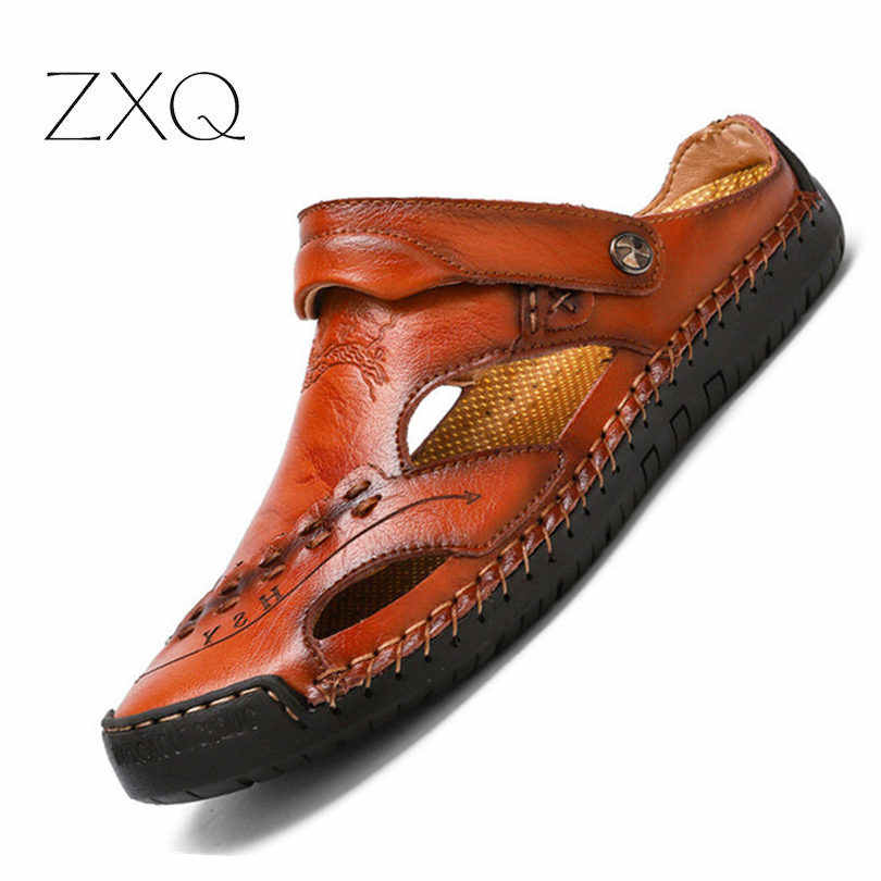 2019 New Summer Sandals Men Breathable High Quality Genuine Leather Sandals Man Flats Plus Size Fashion Casual Beach Men's Shoes