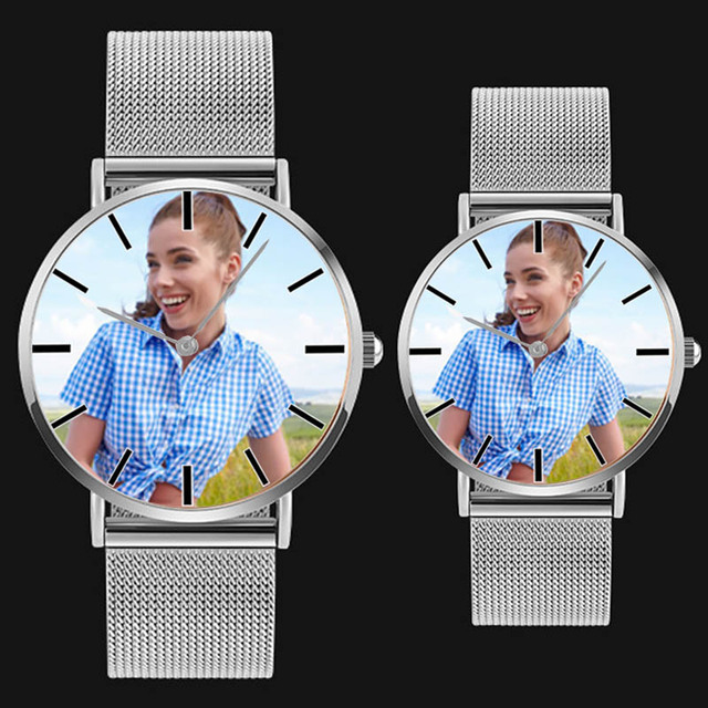 A4402 DIY photo watch mens womens lovers quartz wristwatch custom picture clock