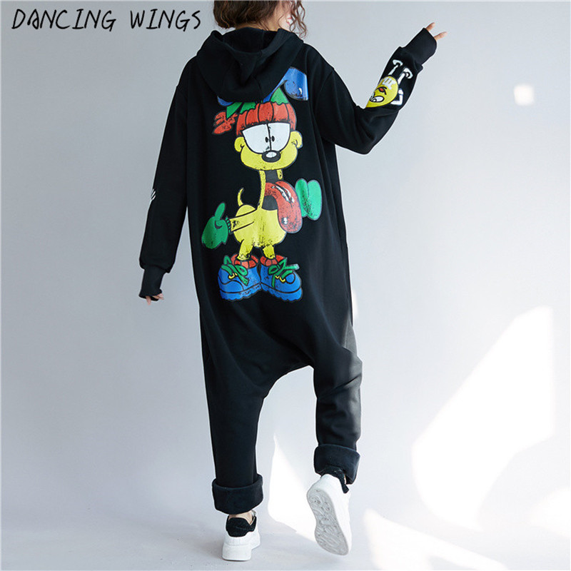 Back Cartoon Printed Rompers Harem Pants Jumpsuits Women Overalls Playsuits Hooded Hip Hop Dance Pants Trousers Long Jumpsuit