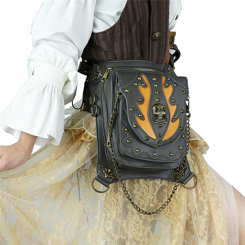 Steampunk Skull Retro Rock Bag Men Women Waist Bag Fashion Gothic Shoulder Phone Case Holder Leather Motorcycle Messenger Bags in Crossbody Bags from Luggage Bags
